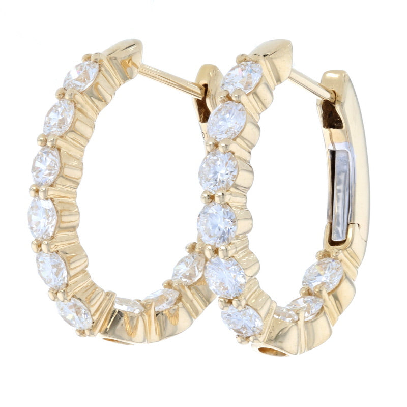 1.53ctw Diamond Earrings Yellow Gold