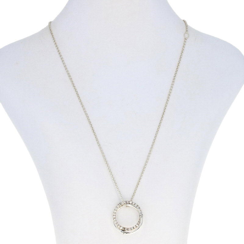John Hardy Bamboo Circle Diamond Necklace Sterling Silver