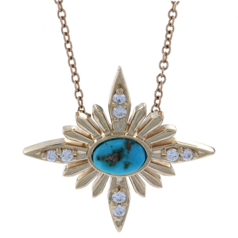 Turquoise & Diamond Necklace Yellow Gold