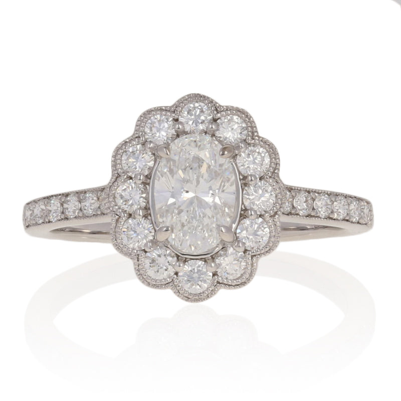 Diamond Floral Halo Engagement Ring