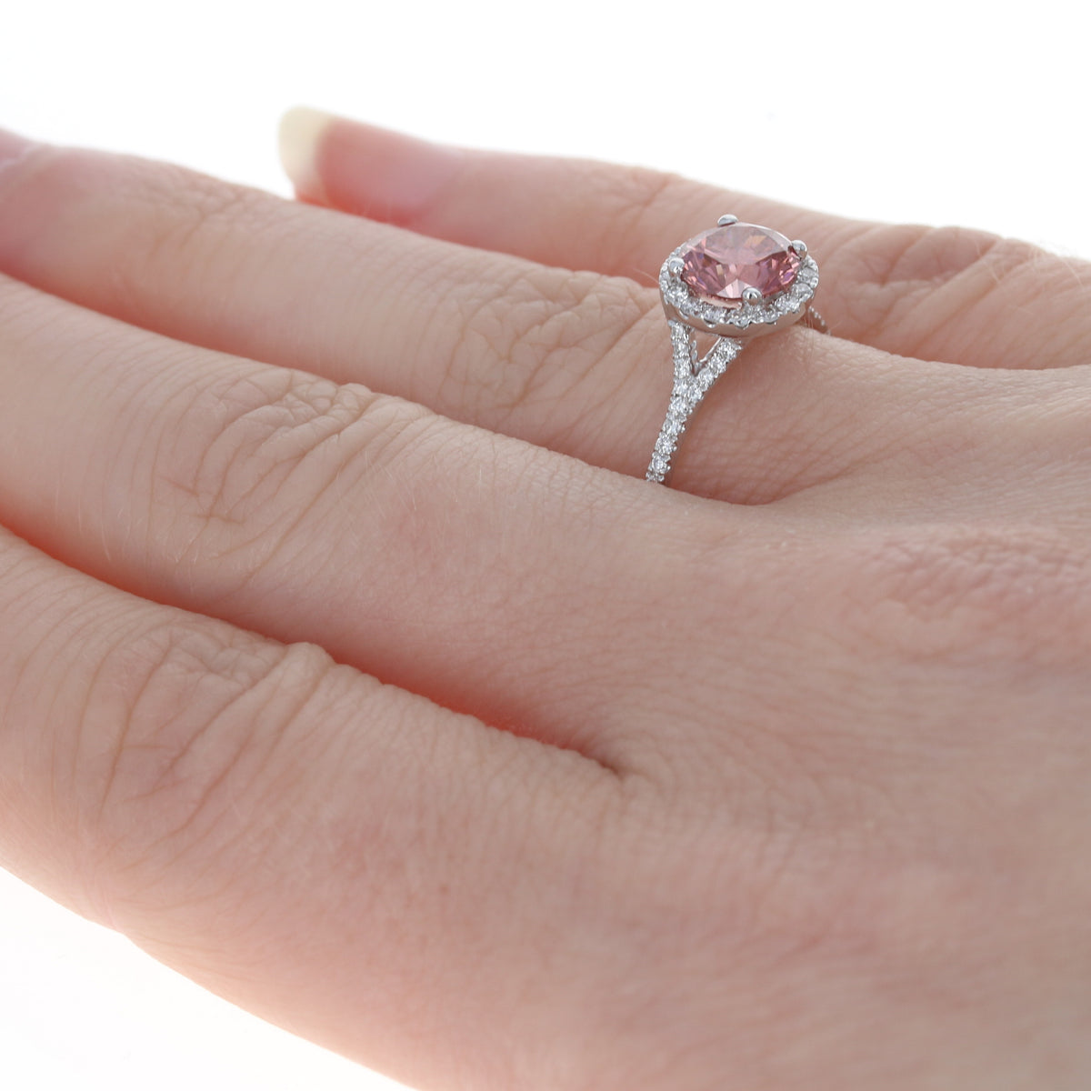 1.21ct Fancy Deep Pink Diamond Ring White Gold