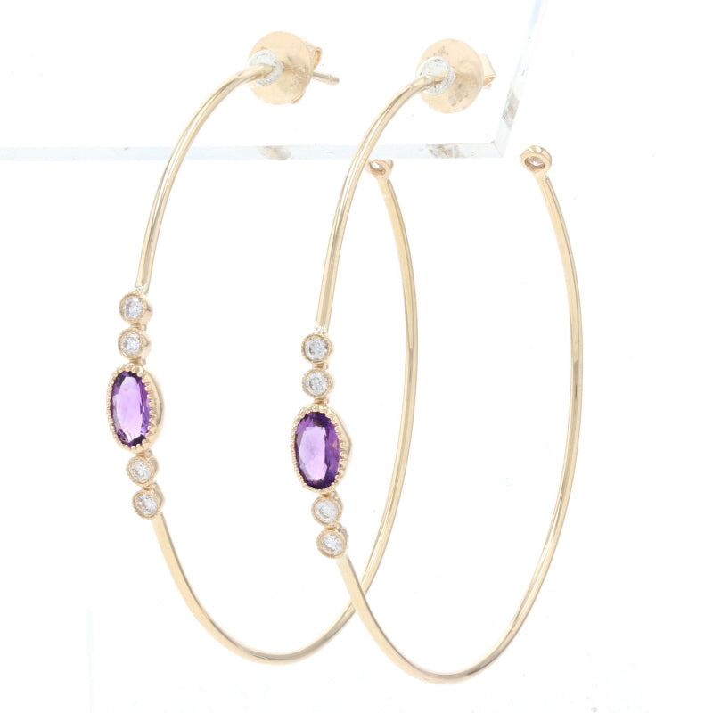 .78ctw Amethyst & Diamond Earrings Yellow Gold