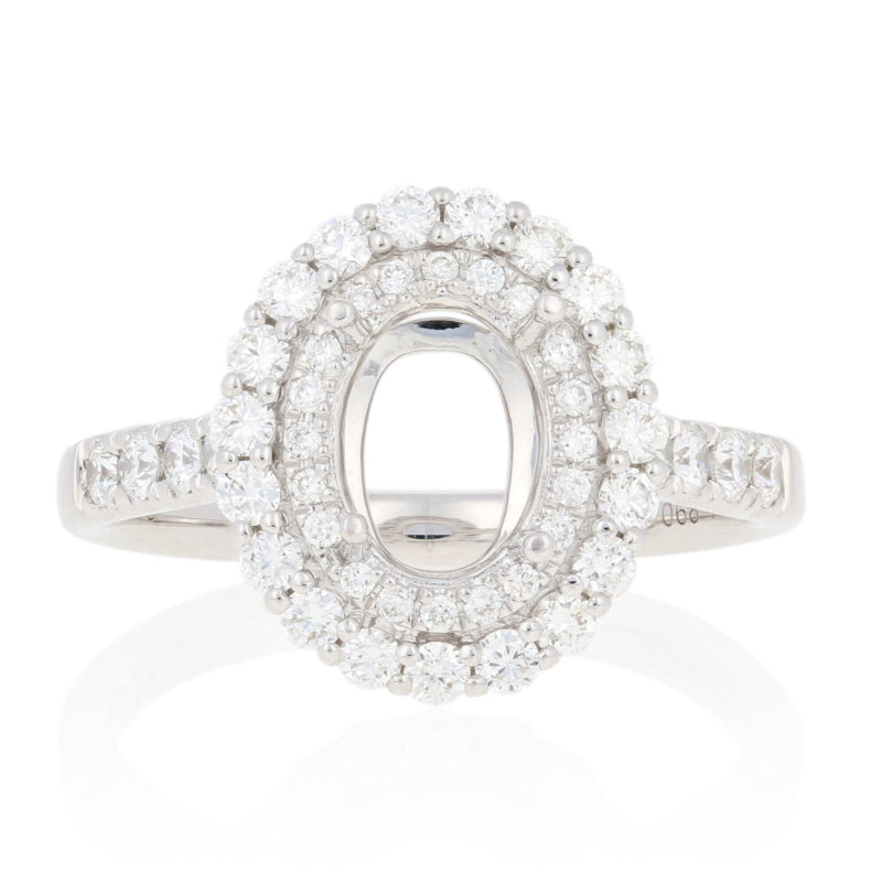 Semi-Mount Oval Double Halo Ring Engagement.68ctw