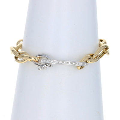 .22ctw Diamond Fancy Cable Link Bracelet Yellow Gold