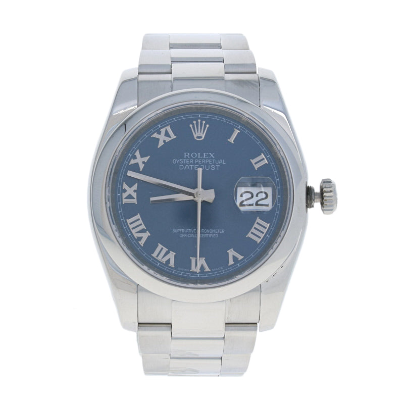 Rolex Blue Roman Dial Datejust Men's Watch Stainless Steel Automatic 116200