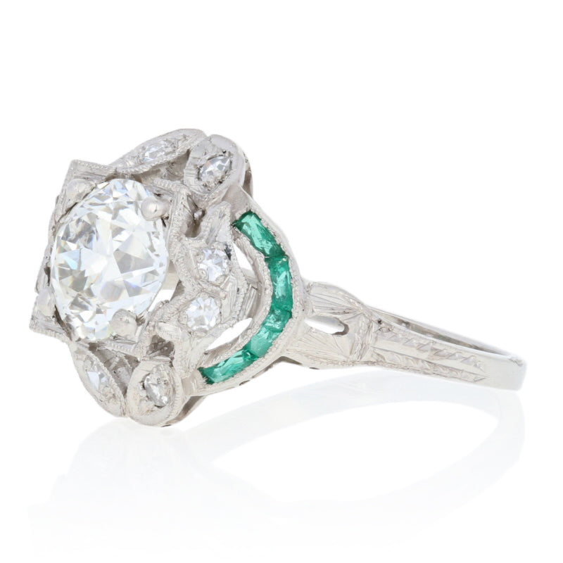 1.69ctw European Cut Diamond & Simulated Emerald Art Deco Ring GIA