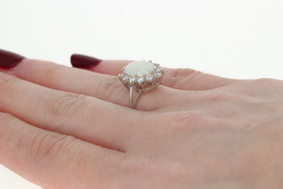 Opal & Diamond Halo Ring 1.46ctw