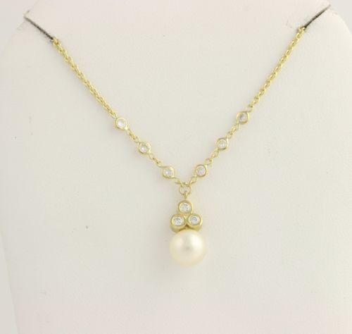 "Penny Preville Akoya Pearl & Diamond Necklace 15 1/2"" - 18k Yellow Gold .30ctw"