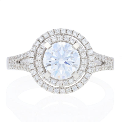 Semi-Mount Double Halo Diamond Engagement Ring