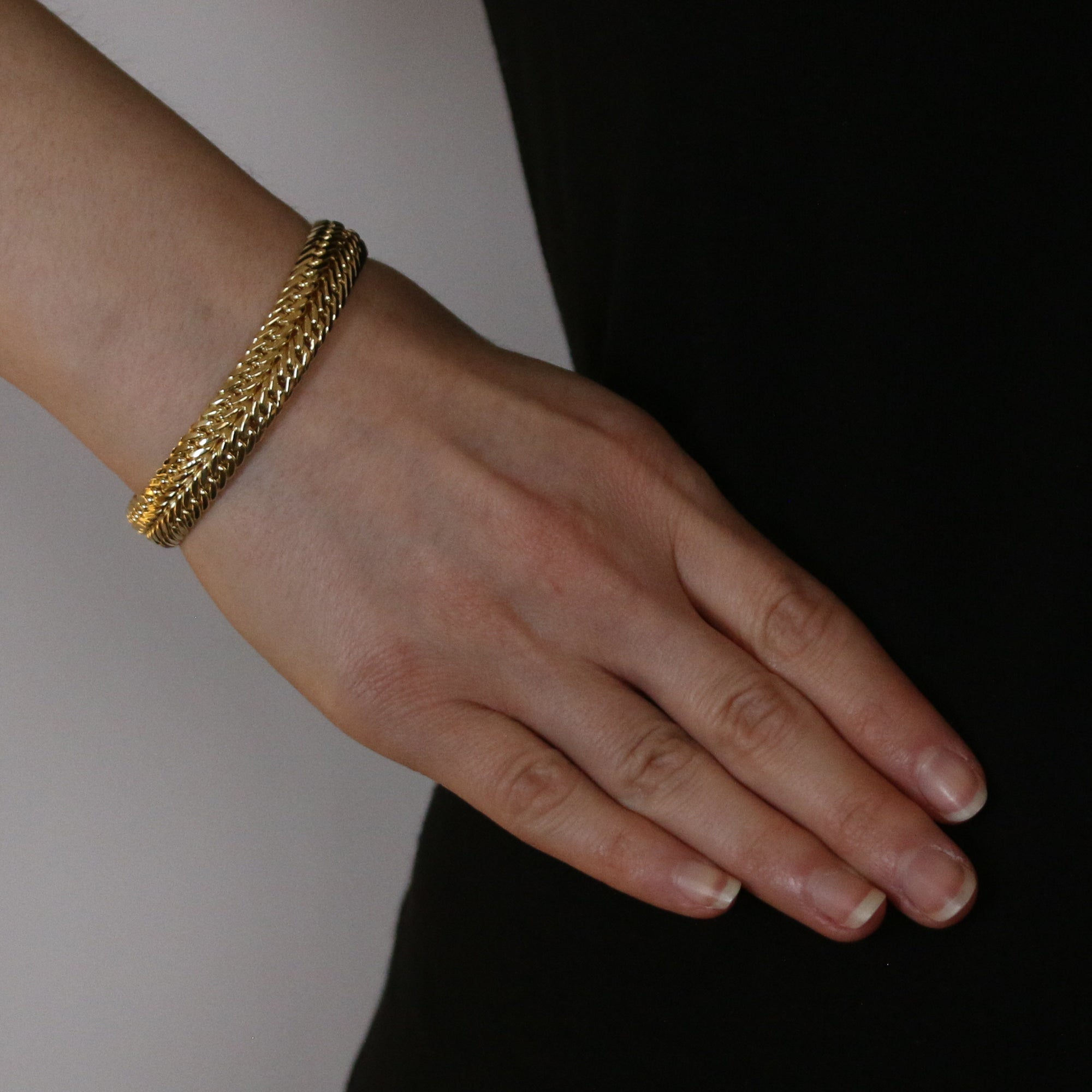 Diamond Cut Double Curb Chain Bracelet Yellow Gold