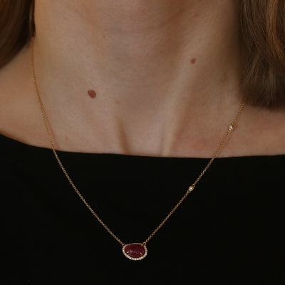 1.94ct Ruby & Diamond Necklace Yellow Gold