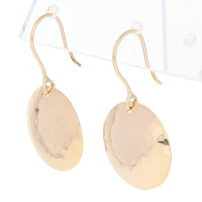 Hammered Disc Earrings Yellow Gold