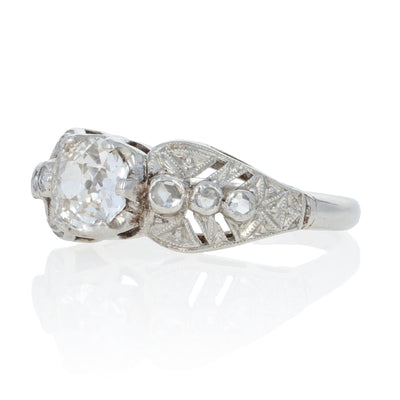 1.01ctw Diamond Edwardian Engagement Ring Platinum