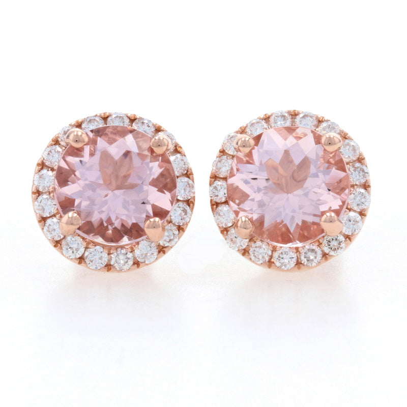 3.34ctw Morganite & Diamond Earrings Rose Gold