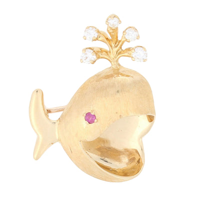 .20ctw Diamond & Ruby Whale Brooch Yellow Gold
