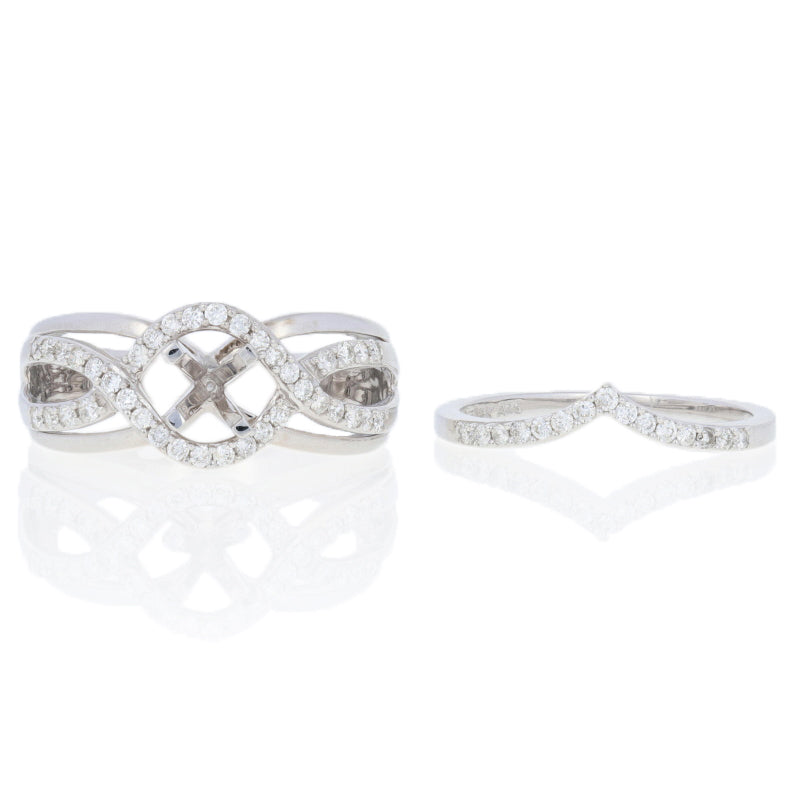 Semi-Mount Halo Engagement Ring & Wedding Band .50ctw