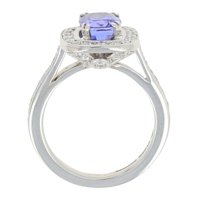 Tanzanite & Diamond Halo Ring Platinum