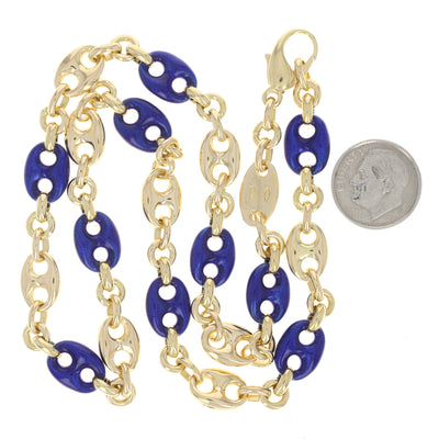 Blue Enamel Gucci Link Necklace Yellow Gold