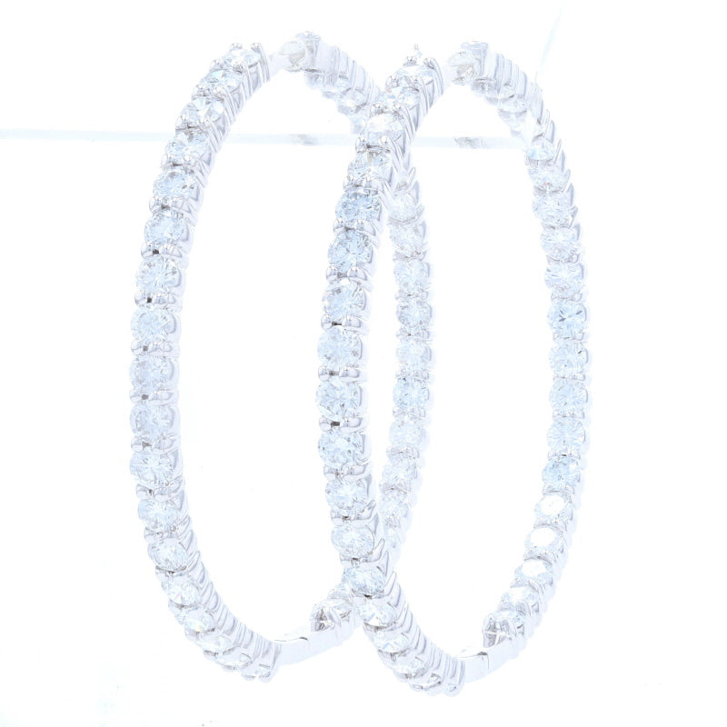 7.55ctw Roberto Coin Perfect Inside Outside Diamond Hoop Earrings White Gold