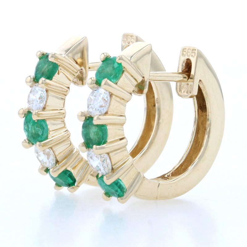.92ctw Emerald & Diamond Earrings Yellow Gold
