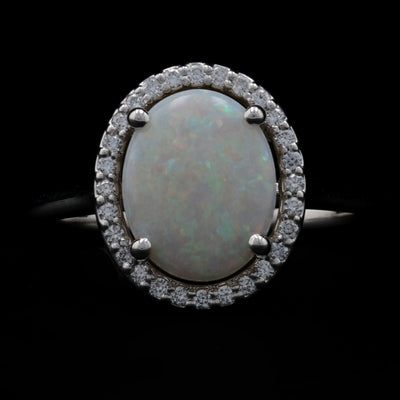 1.25ct Opal & Diamond Ring White Gold