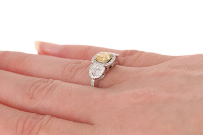 Fancy Light Yellow Cushion Diamond Ring