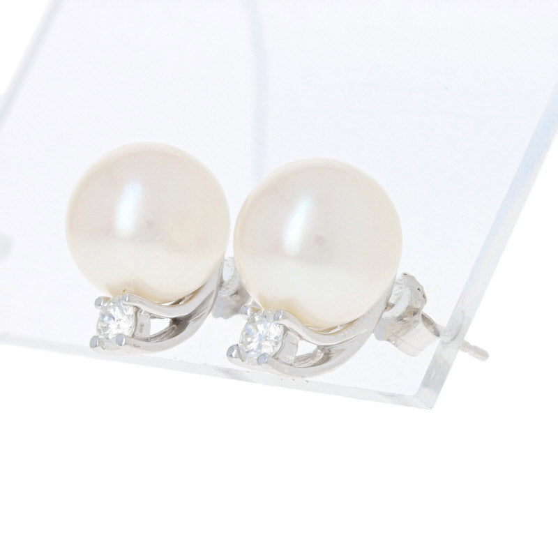 10mm Cultured Pearl & Diamond Earrings White Gold