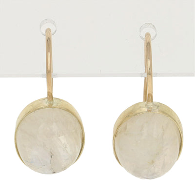 Oval Cabochon Moonstone Earrings