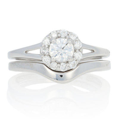 .57ctw Diamond Halo Engagement Ring & Wedding Band White Gold