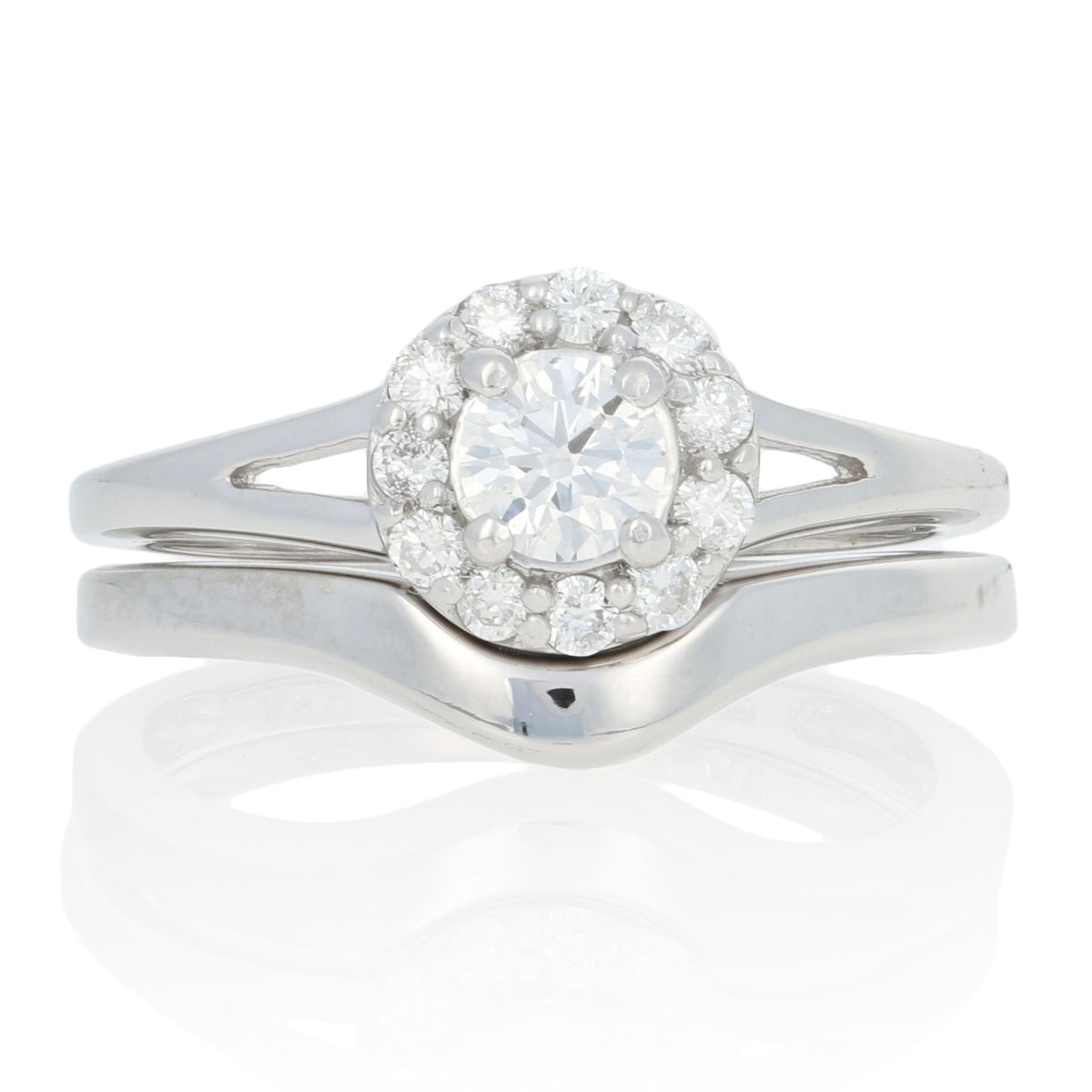 .57ctw Diamond Engagement Ring & Wedding Band White Gold