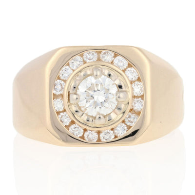 1.06ctw Diamond Men's Ring Yellow Gold