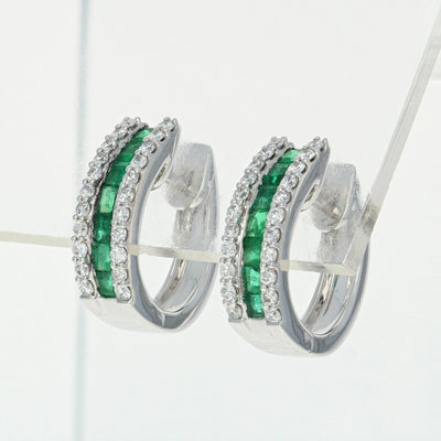 Emerald & Diamond Hoop Earrings 1.32ctw