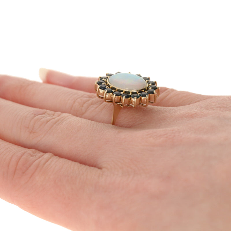 2.21ct Opal & Sapphire Ring Yellow Gold