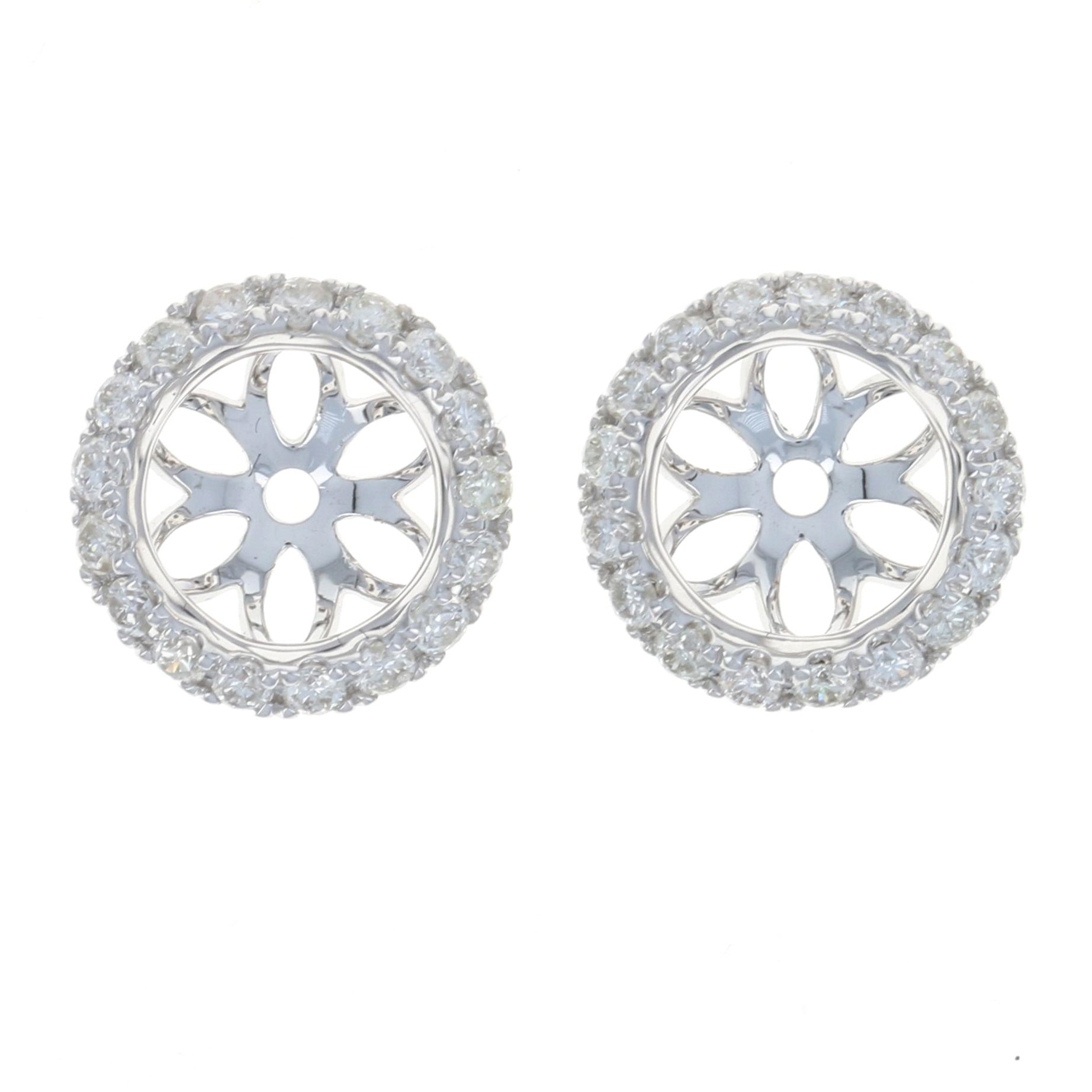 .34ctw Diamond Halo Earring Enhancer Stud Jackets White Gold