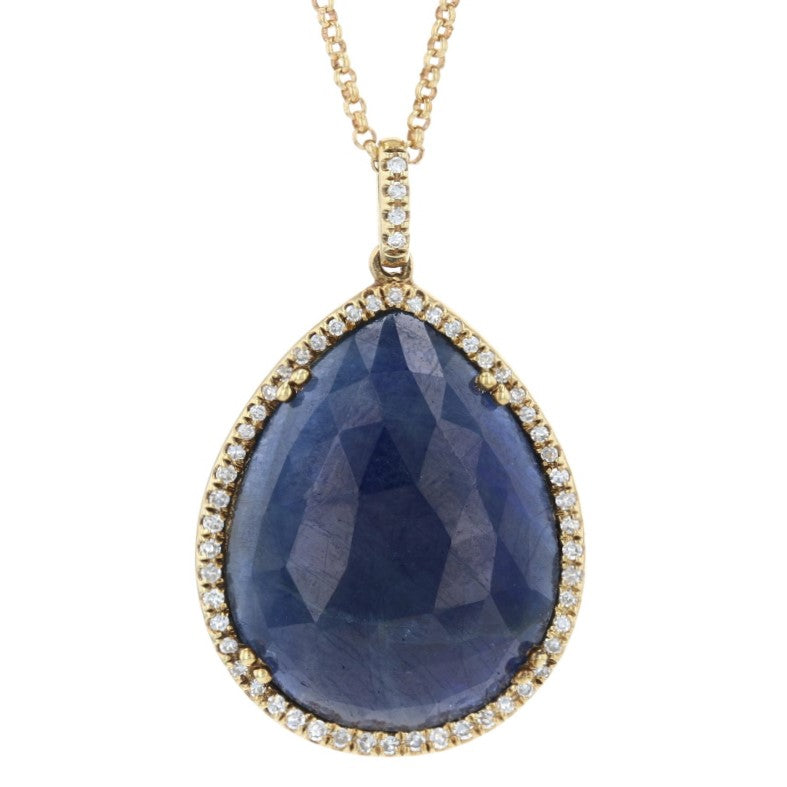 9.20ct Sapphire & Diamond Halo Pendant Necklace Yellow Gold