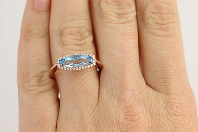 Blue Topaz & Diamond Ring 1.91ctw