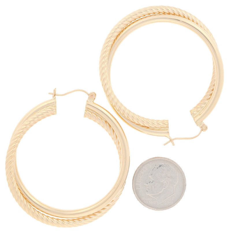 Rope Hoop Earrings Yellow Gold
