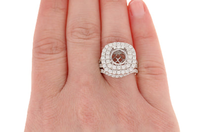 Semi-Mount Double Halo Engagement Ring & Wedding Band 2.35ctw