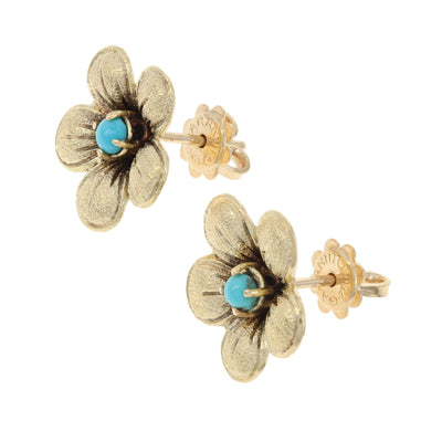 Turquoise Flower Earrings Yellow Gold