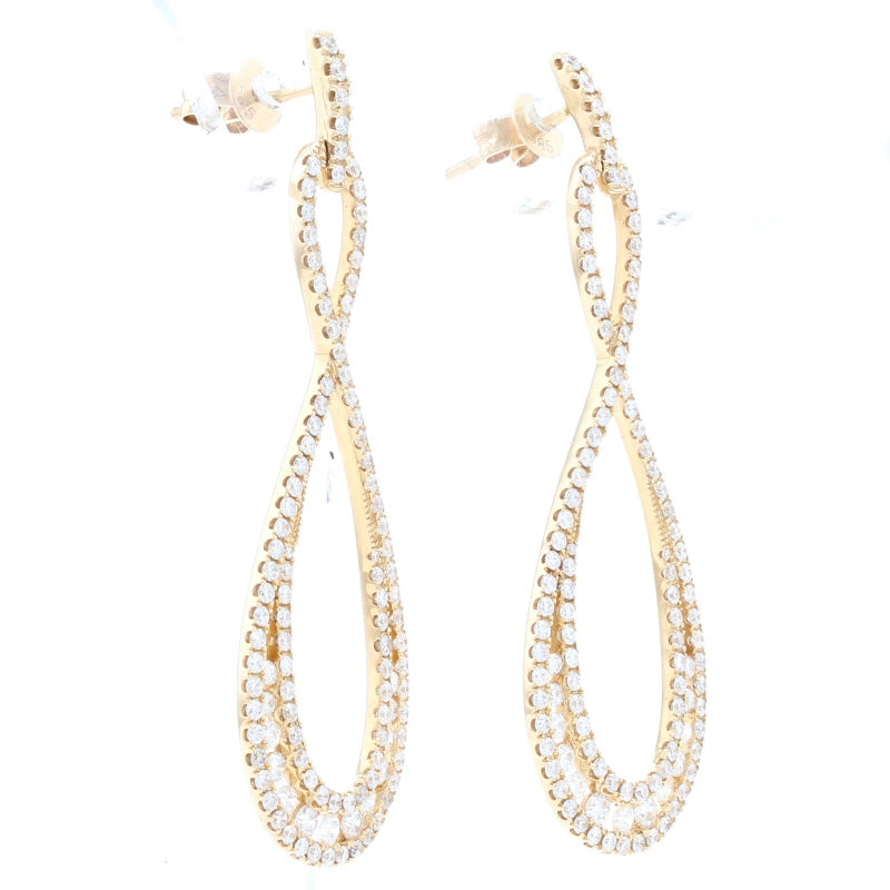 1.93ctw Diamond Earrings Yellow Gold