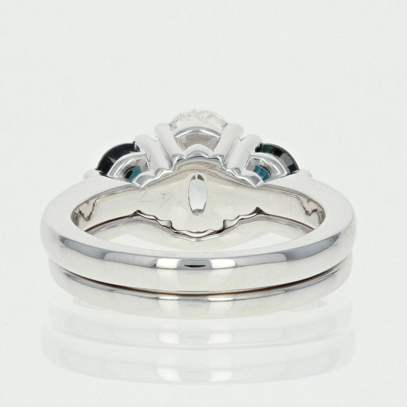 Diamond & Sapphire Engagement Ring & Wedding Band 1.93ctw