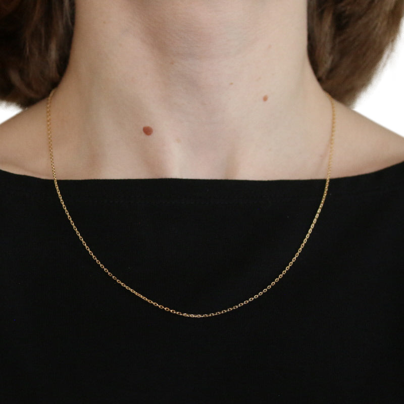 Diamond Cut Cable Chain Necklace Yellow Gold