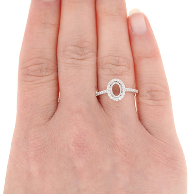 Semi-Mount Oval Halo Engagement Ring