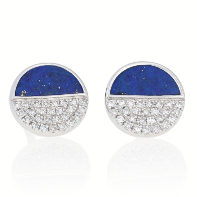 Lapis Lazuli & Diamond Earrings White Gold