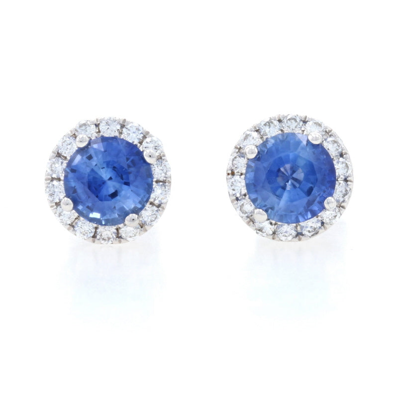1.25ctw Sapphire & Diamond Earrings White Gold