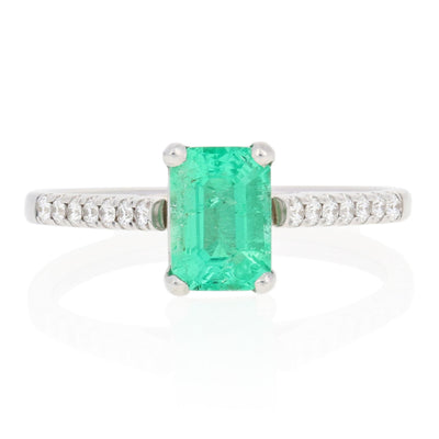 Emerald & Diamond Ring .93ct