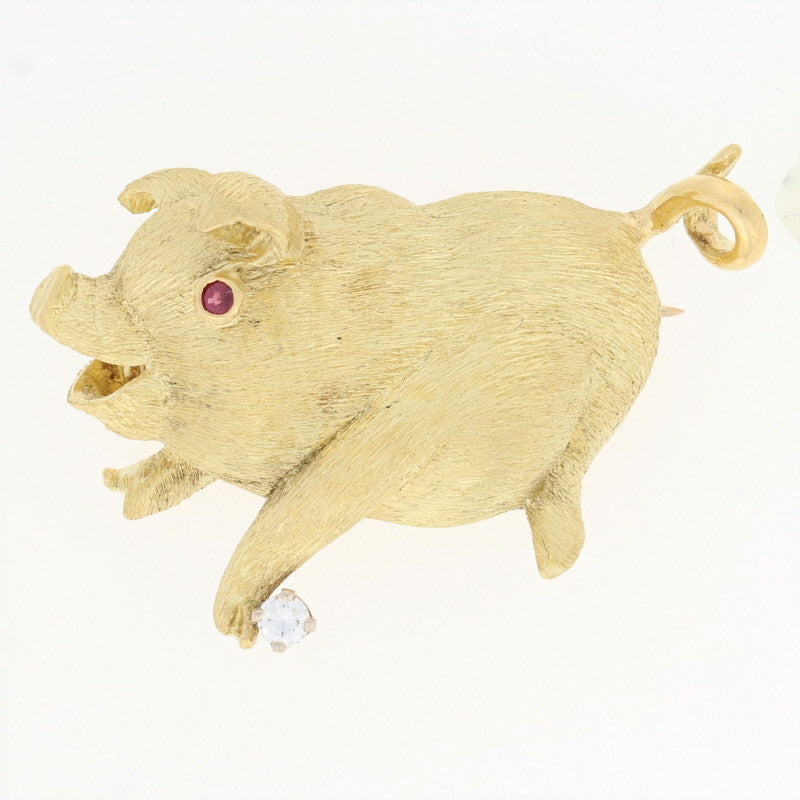 Diamond & Ruby Pig Brooch