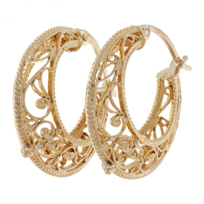 Filigree Hoop Earrings Yellow Gold