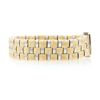 Diamond-Accented Woven Chain Bracelet Yellow Gold