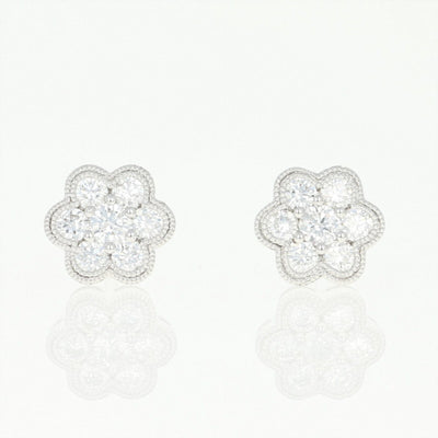 Diamond Cluster Halo Earrings  .50ctw